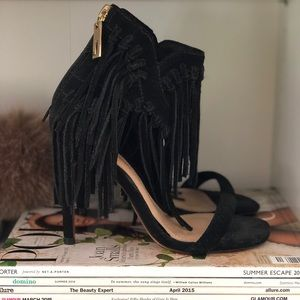 Cosmoparis fringe black heels